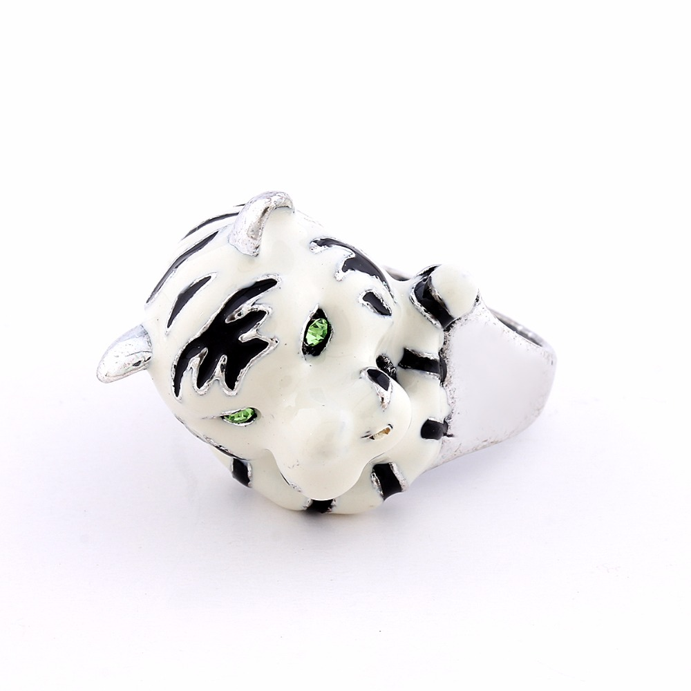 Brand New Retro Fashion Antique Silver Color Cute Tiger Ring With White Enamel Wedding Rings For Women J00946