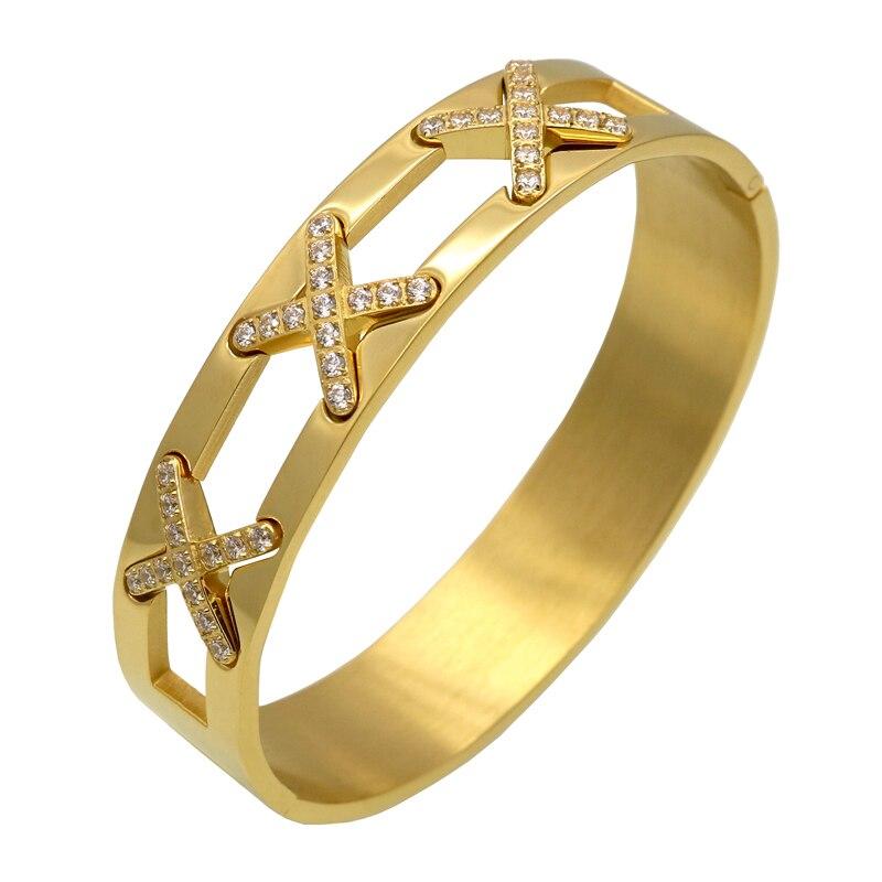 Latest design Luxurious Jewelry X Bracelets Cross CZ rhinestone