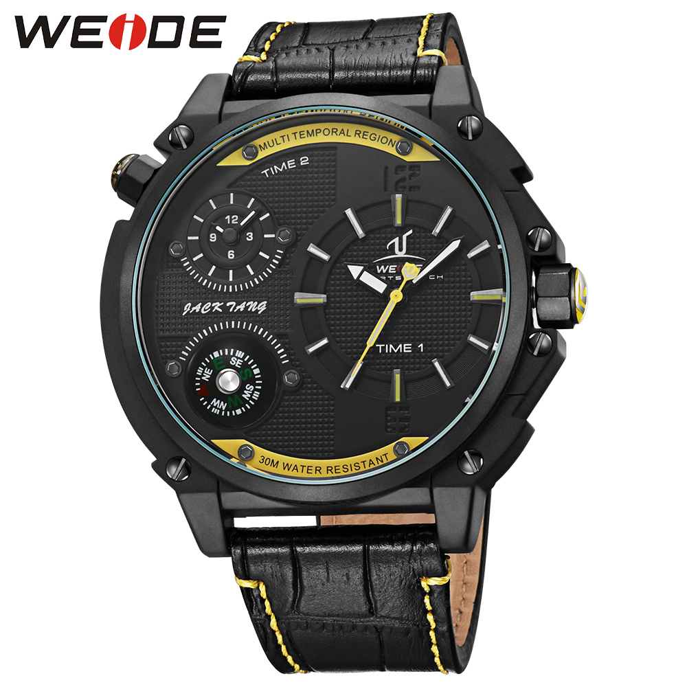 WEIDE Fashion Quartz analog Watch Men Compass Waterproof Dual Time Zone Black Leather Watches Luxury Brand  Wristwatches  Clcok thermometer watch compass watch two time zone display dual movt quartz watch for men oulm 1349