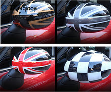 цены 2pcs mini f55 f56 Door Rear View Mirror Covers Stickers Car-styling Decoration For BMW Mini Cooper One S JCW F56 F55 Accessories