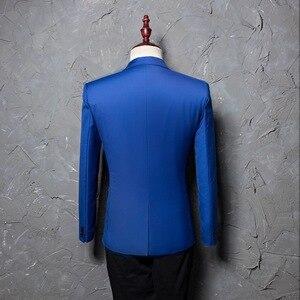 Image 2 - PYJTRL ブランドファッションカジュアルファッションレジャースーツのジャケットのコートロイヤルブルー男性ブレザースリムフィットデザイン Masculino ステージ衣装歌手