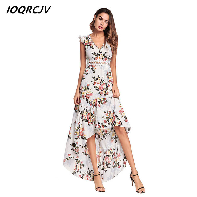 2200aa0f49e948 Zomerjurken 2018 Dames Womens V-collar Print Bohemia Beach Dress Splice  Casual Chiffon Dress Crisscross Back A Line Dress F108