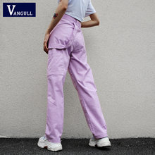 Vangull Loose High Waist Women's Pants Cotton Full Length Trousers Women 2019 New Fashion Women Stretch Streetwear Cargo Pants(China)
