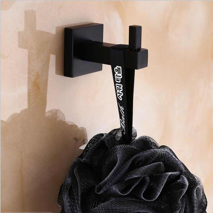 Nowoczesny czysty czarny Design montażu na ścianie hak ścienny ze stali nierdzewnej. Sypialnia ubrania wieszak ścienny wielofunkcyjny kuchnia haki