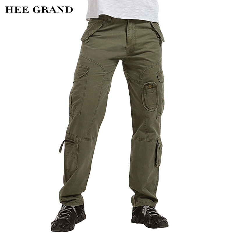 ①HEE GRAND Hommes Casual Cargo Pantalon Mid-taille Multi-poches ... 451a6378bb89