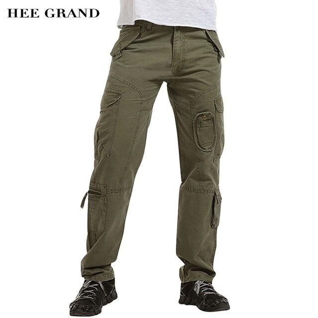 Hee Grand/мужские повседневные брюки-карго Брюки середины талии мульти-карманы полной длины осень весь хлопок Материал брюки 6 цветов MKX1061