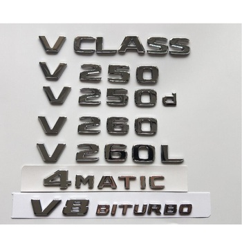 Chrome Letters Trunk Lid Badges Emblems Emblem for Mercedes Benz V Class W447 MPV V200 V220 V250 V250d V250L V260 V260L 4MATIC w447 vito diamonds style front grille grill fit for mercedesmb v class abs black sport without sign v260 v250 look grills 16 19