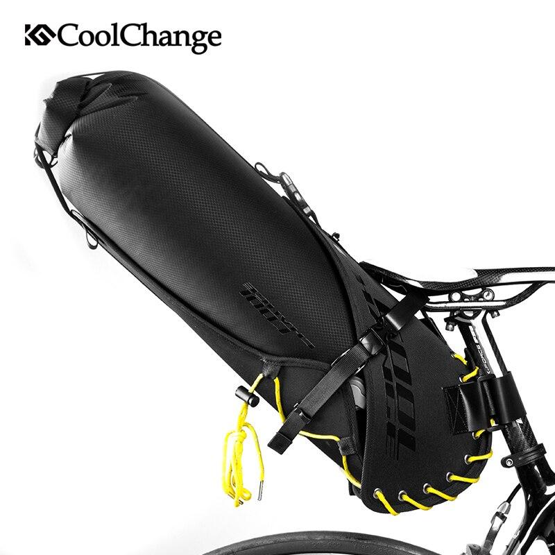 CoolChange Vélo Selle Sac Étanche Vélo Pliable Queue Arrière Siège Sac VTT Coffre Pannier Sac À Dos Vélo Sac Accessoires 20L