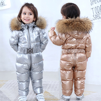 0 6 years Kids Baby Snowsuit Russian Winter Children Clothes Outwear Real Fur Toddler Boys Girls Jumpsuit Romper Thick Down Coat