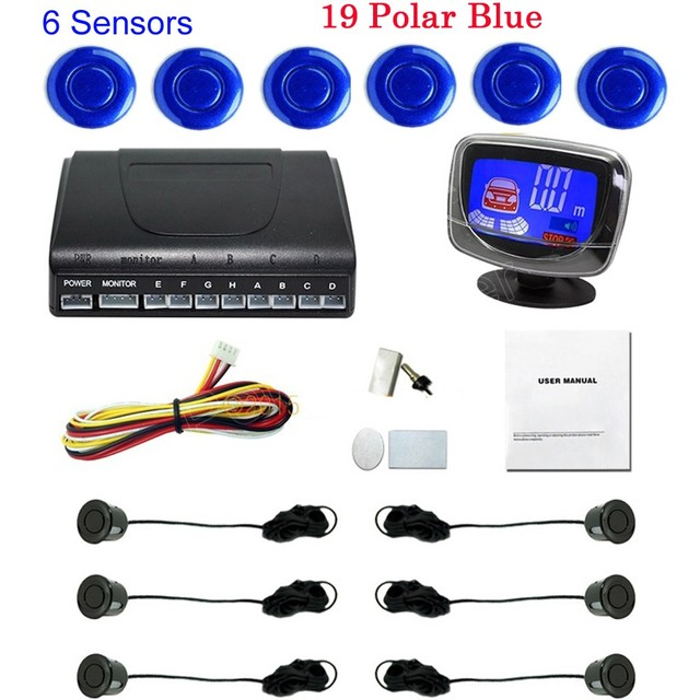 Free shipping car parking sensors 6 sensors accessories 44 colors to choose Assistance Reversing Radar backup auto buzzer