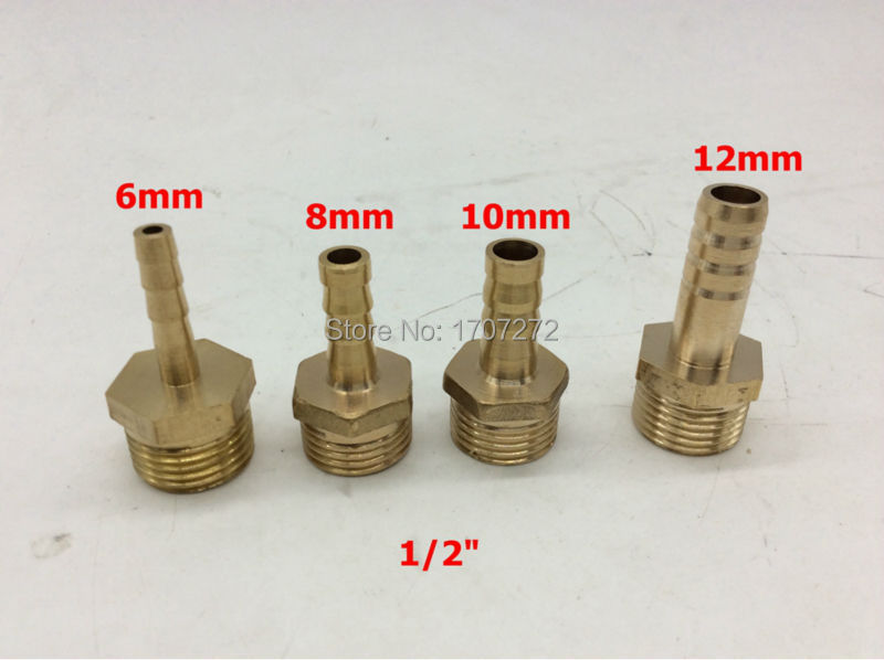 ③free Shipping Copper Fitting 6mm 8mm 10mm 12mm Hose Barb