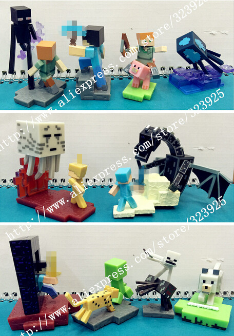 10PCS/Set <font><b>Minecraft</b></font> Steve Alex <font><b>Zombie</b></font> Skeleton Enderman Toy scene Toy an Assembly Compatible <font><b>Action</b></font> Toy <font><b>Figures</b></font> For Gift