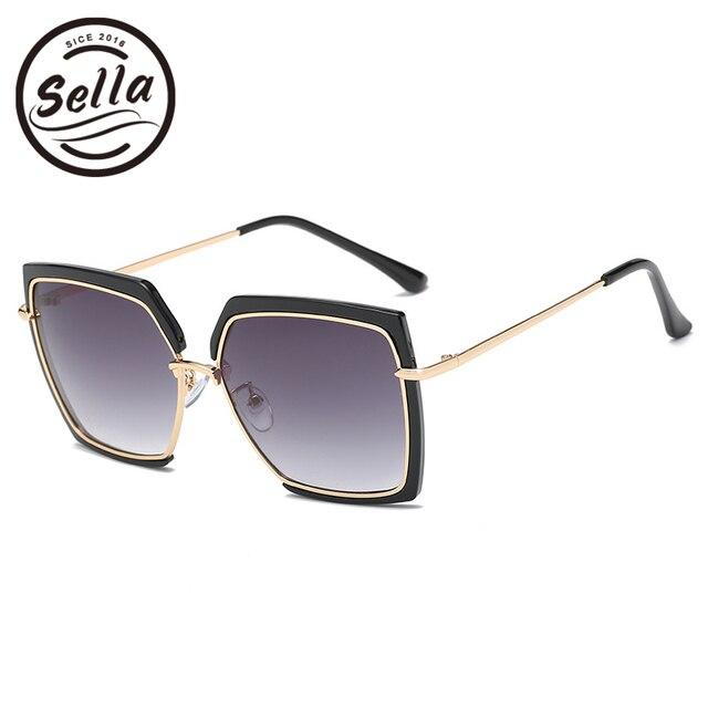 6d69db090d6 Sella 2018 New Fashion Women Oversized Square Gradient Lens Sunglasses  Brand Designer Popular Ladies Summer Trending