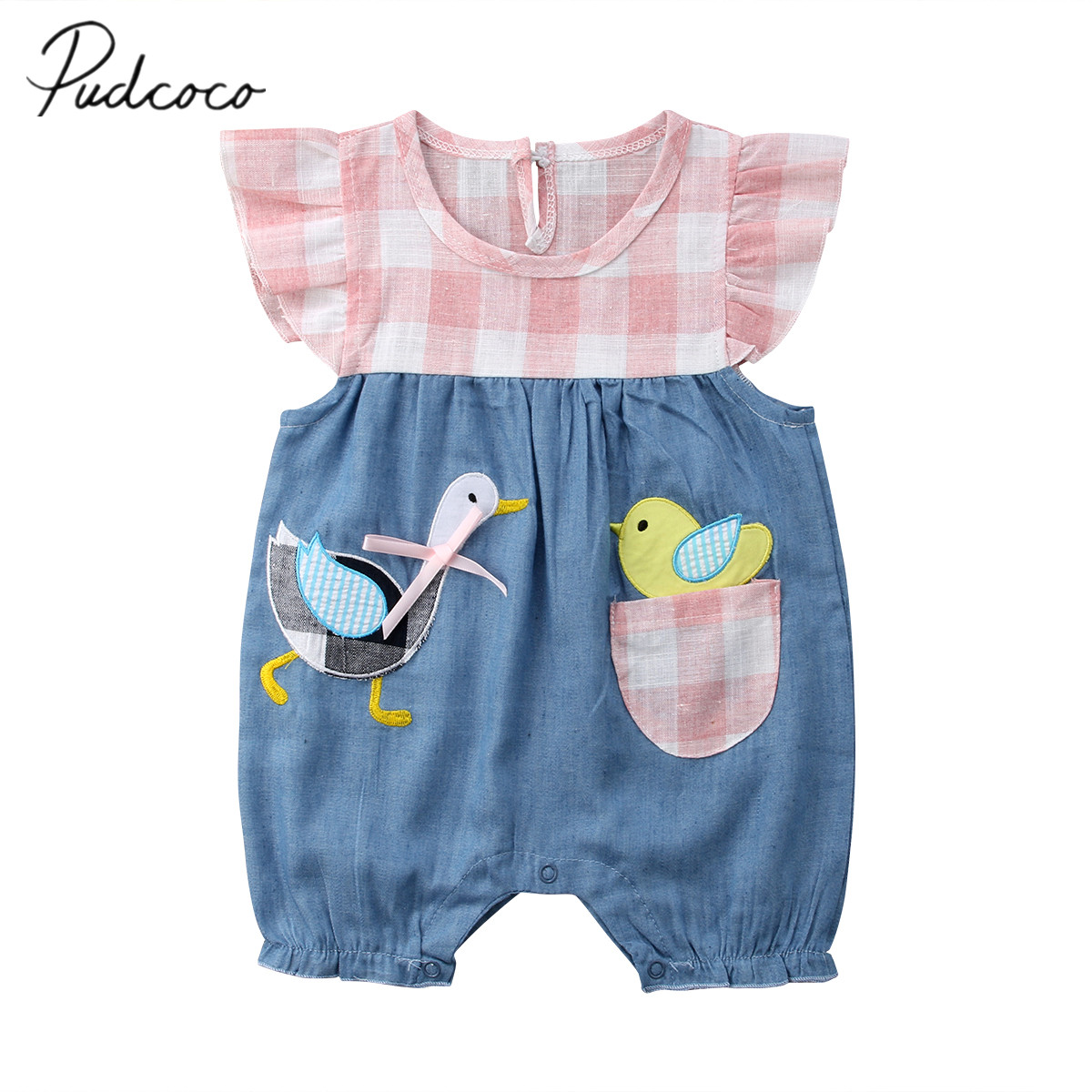 2018 Brand New Newborn Toddler Infant Baby Girl Plaid Cartoon Goose   Romper   Jumpsuit Outfits Patchwork Summer Plaid Clothes 0-4T
