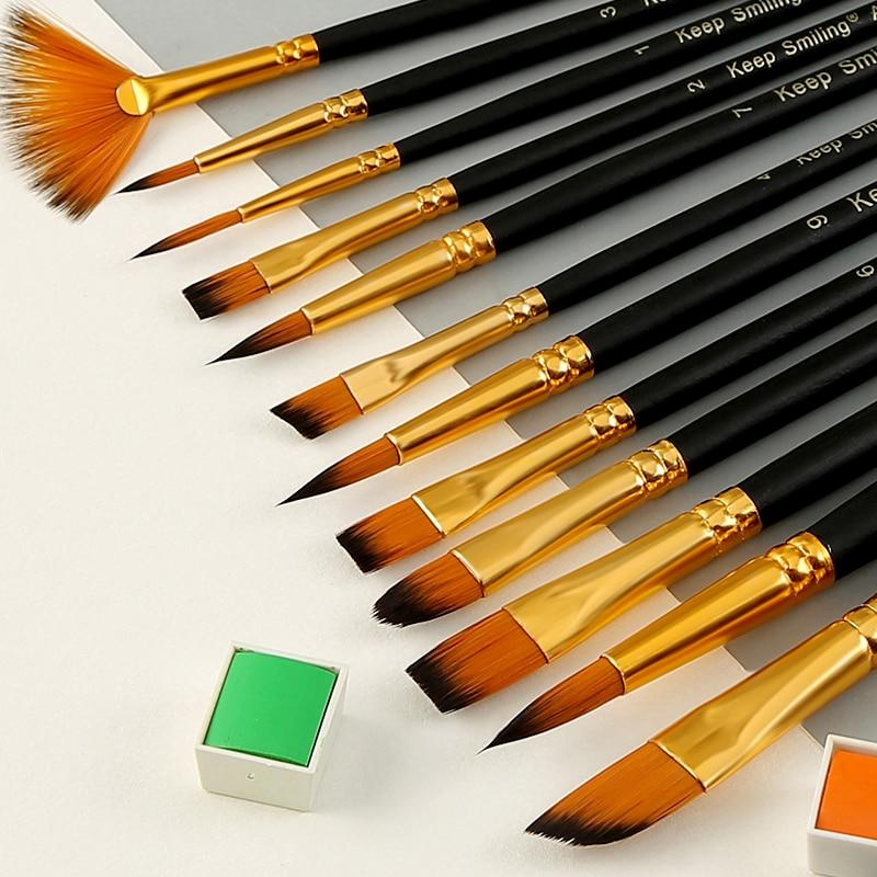 Bgln Oil Brush Set Acrylic Watercolor Gouache Brush 12 Sets Professional Painting Special Hook Line Pen Fan Pen Set Art Supplies