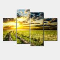 벽 예술 홈 장식 인쇄 유화 그림 4 패널 HD 캔버스 인쇄 아름다운 폐기물 랜드 일몰 풍경