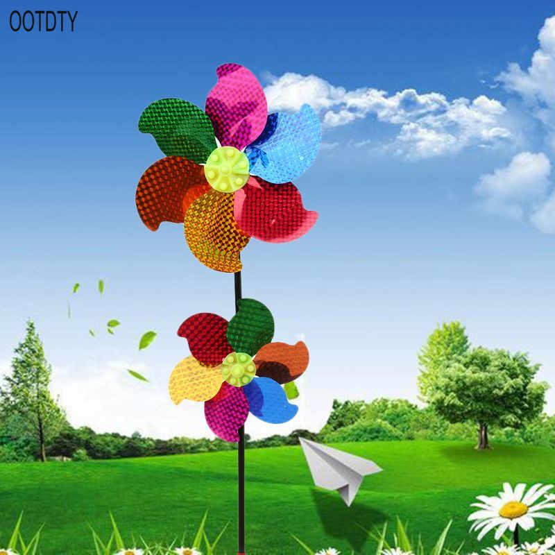 1 шт., ветряной Спиннер, двойная ветряная мельница, блестящий, ветряные мельницы, детские игрушки, вечерние садовые украшения, детские подарки, вращающиеся на колесах