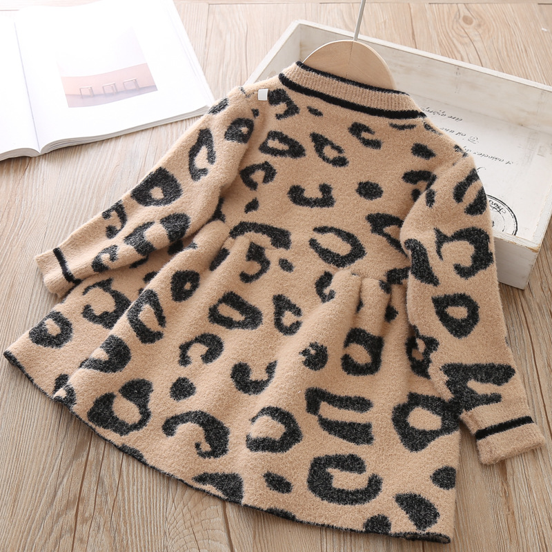 Image 5 - Toddler Sweater Dress 2019 Kids Sweaters Winter Leopard Crystal Children Sweater Dress Toddler Dresses Sweater For Kids-in Dresses from Mother & Kids