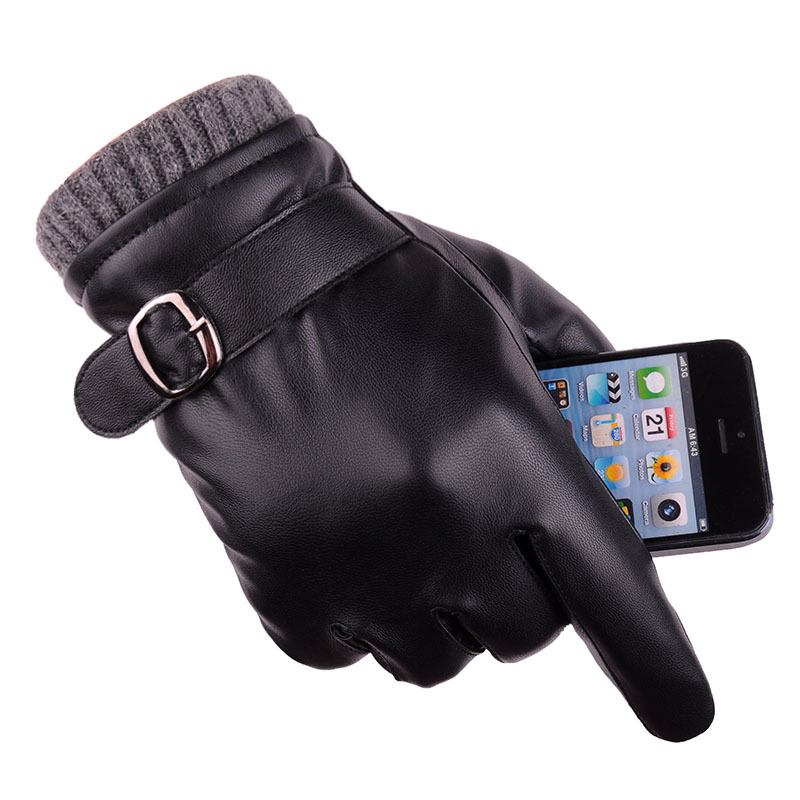 2018 Male Kniting Driving Gloves Men Black Leather Gloves Gentleman Fashion Outdoor TouchScreen Mittens Thermal Warm Mittens
