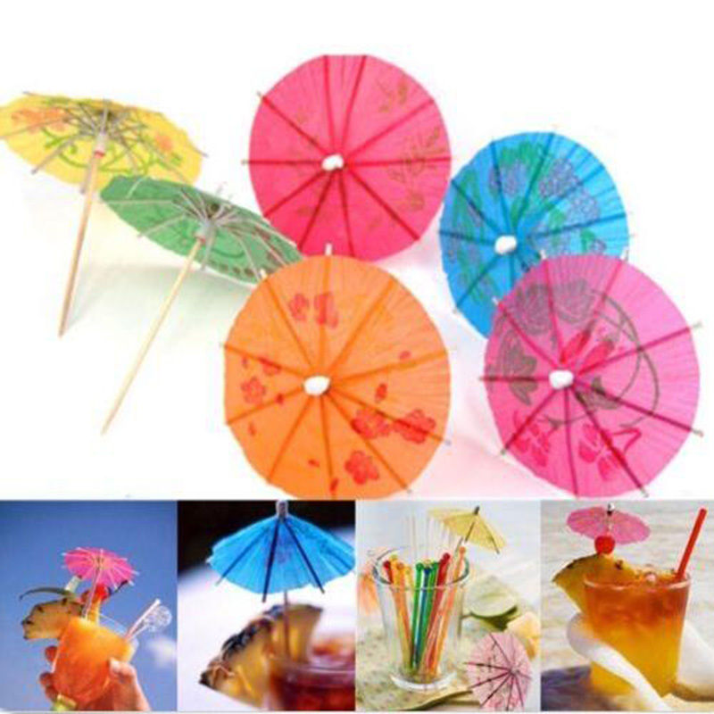 Paper Cocktail Parasols Umbrellas Party Wedding Supplies Luau Drink Stick N3