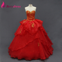 Hot Red Organza Skirt Puffy Party Gown Crystals Real Pictures Sequined Ball Gown Golden Embridered Quinceanera Dresses