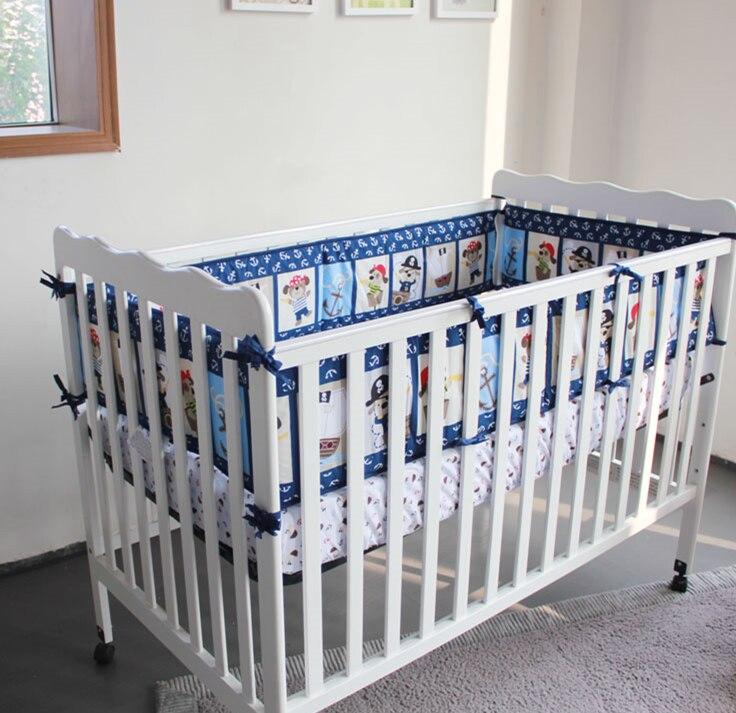 5pcs Embroidery Baby Cot Set Crib Bedding Linen Cotton Baby Bedding Set Protetor De Berco (4bumper+bed Cover)