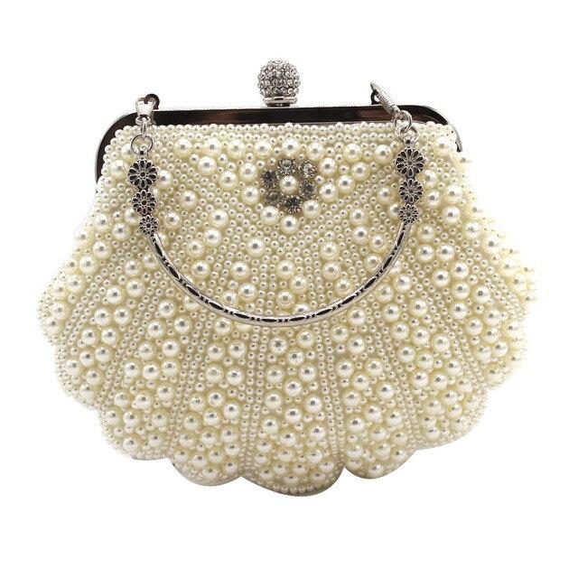 d7b3c4ee72 DAIWEI Women Evening Clutch Bag Ladies Wedding Bridal Handbag Pearl Beaded  Diamond Day Cluthes Crystal Purse Party Wedding Beige