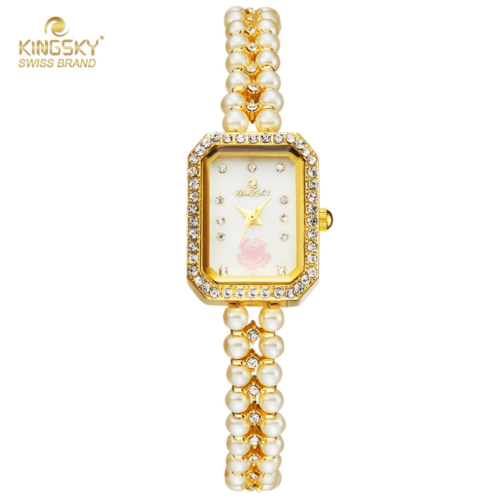 Women Bracelet Watches KINGSKY Dress Watch Pearl Strap Rhinestone Rectangle Case Analog Quartz Wristwatch 2017 New stylish golden hollow rounded rectangle hasp bracelet for women