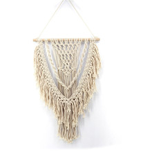 Cotton woven tapestry Bohemian home style decorative wall decoration pendant crafts beige curtain macrame