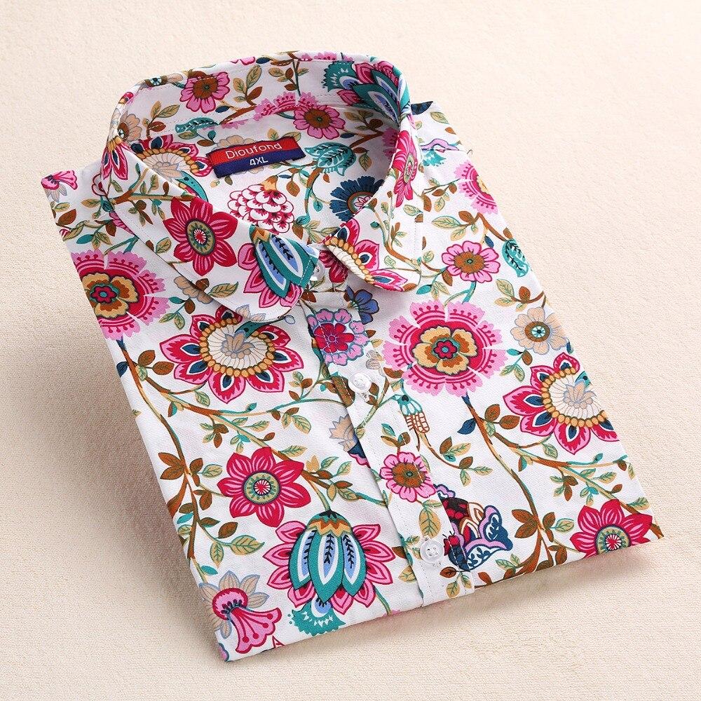 Dioufond Yaz Çiçek Bluz Gömlek Kadınlar Uzun Kollu Pamuk Gömlek - Bayan Giyimi - Fotoğraf 3