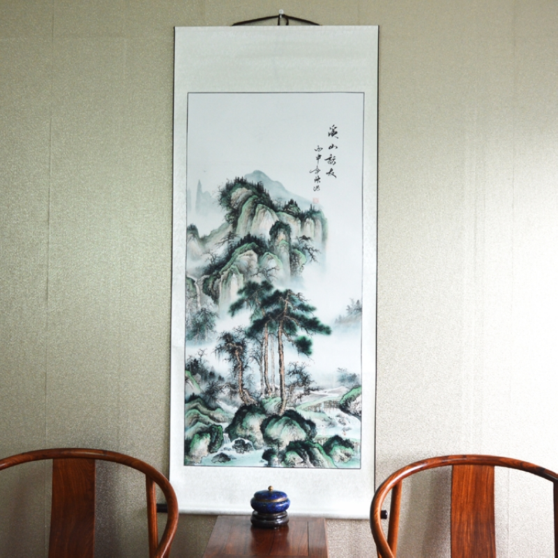 Big Scroll Painting by Numbers / Landscape Mountain and River / Asia Japanese Chinese style / Hotel Lobby Wall Art Pictures