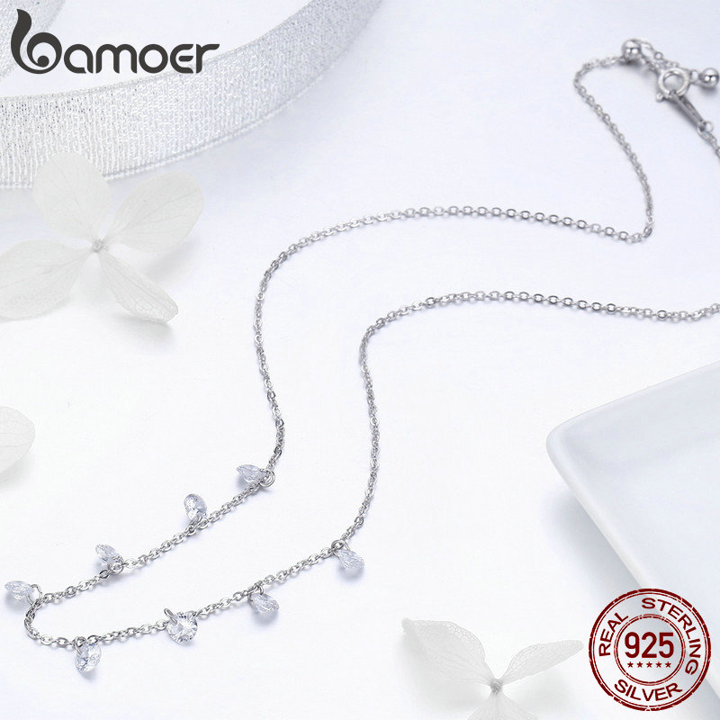 BAMOER Real 925 Sterling Silver Dazzling Cubic Zircon Round Circle CZ Pendant Necklaces for Women Sterling BAMOER Real 925 Sterling Silver Dazzling Cubic Zircon Round Circle CZ Pendant Necklaces for Women Sterling Silver Jewelry SCN299
