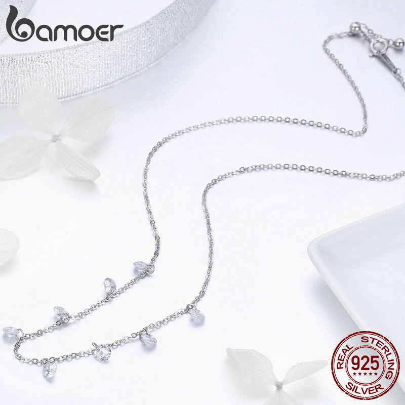 BAMOER gerçek 925 ayar gümüş göz kamaştırıcı kübik zirkon yuvarlak daire CZ kolye kolye kadınlar için gümüş takı SCN299