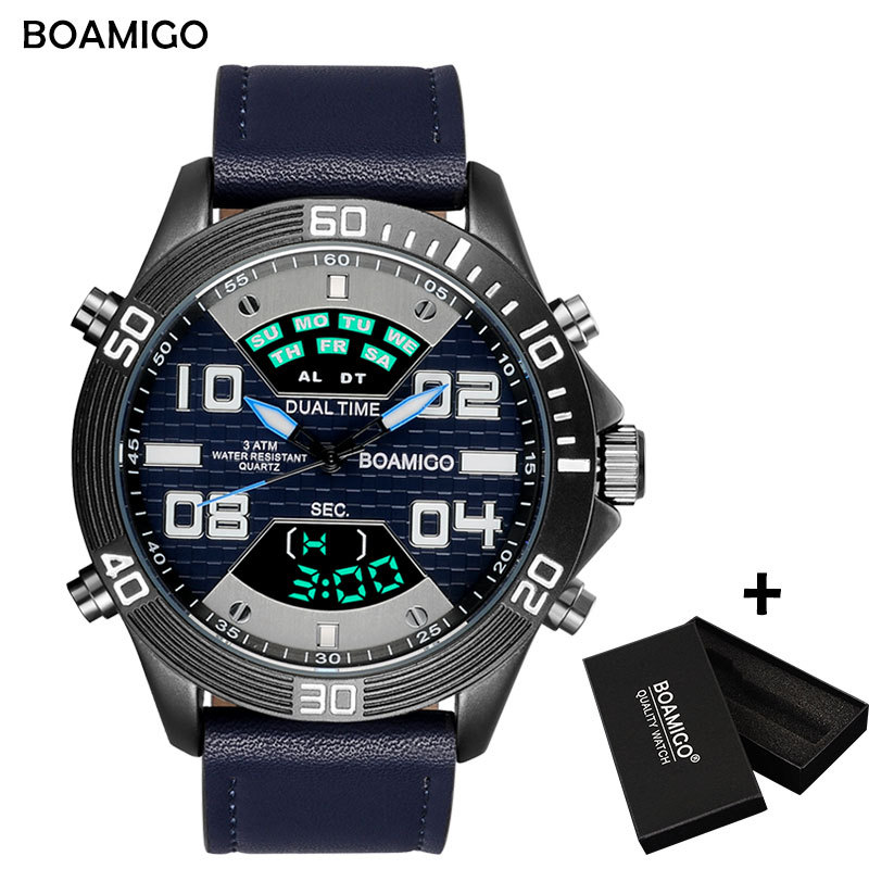 BOAMIGO Brand Watch Men Fashion Sports Watches Quartz Wristwatches LED Digital waterproof leather Male Clock Relogio Masculino 2017 new top fashion time limited relogio masculino mans watches sale sport watch blacl waterproof case quartz man wristwatches