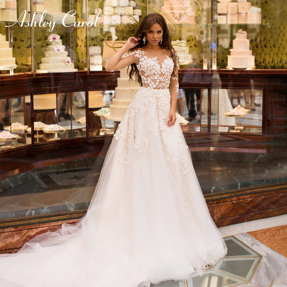 Ashley Carol Sexy V-neckline Illusion Beaded Appliques Satin Vintage Wedding Dress 2019 Half Sleeve Court Train Wedding Gowns