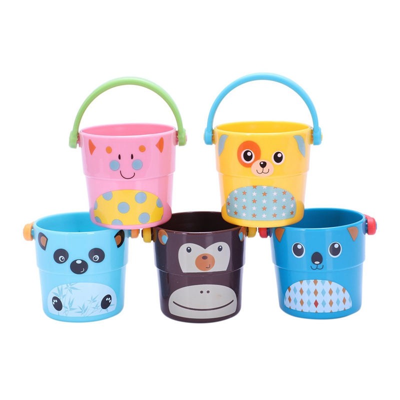 Toddler Bathtime Set Of 5 Zoo Stack And Pour Buckets For Children Bath Beach Sand Toys Play Sand Summer Fun Play Sand Set