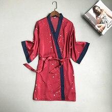 Daeyard Silk Wedding Bride Bridesmaid Robe Women Polka Dot Bathrobe Short Kimono Red Nighty Sleepwear Fashion Dressing Gown