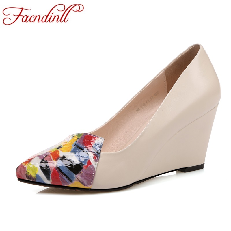 FACNDINLL new spring genuine leather shoes woman pumps fashion wedges heel pointed toe sexy beige woman casual shoes pumps 34-39 2017 new sexy pointed toe high heel women pumps genuine leather spring summer shoes woman fashion dress party casual shoes pumps