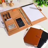 Папка-книжка a4 из искусственной кожи, многофункциональный планер, записная книжка А4, папка с калькулятор, кольцевая папка с замком, Офисная ...