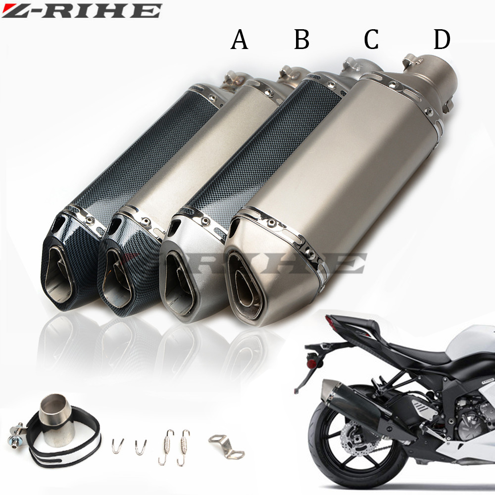 ZRIHE Universal 36-51mm Motorcycle exhaust Modified Scooter Exhaust Muffle GY6 for HONDA R1 R3 R6 FZ6 FZ1 ATV Dirt bike exhaust modified akrapovic exhaust escape moto silencer 100cc 125cc 150cc gy6 scooter motorcycle cbr jog rsz dirt pit bike accessories