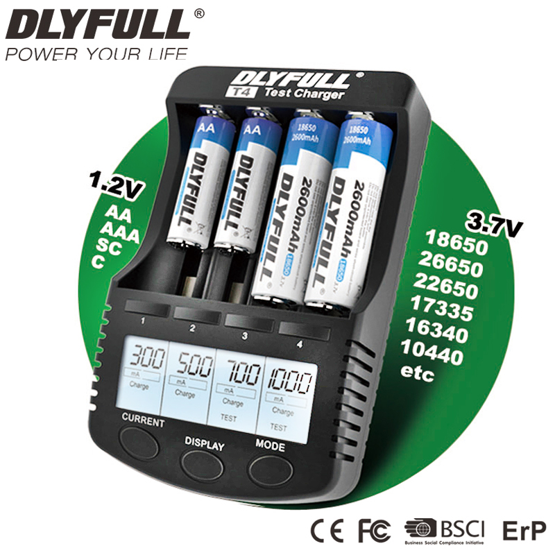 18650 Charger DLYFULL T4 LCD NiCD NiMH Li-ion 18650 Vape Battery For AA AAA CR123A USB 5V Output With Test Feature Free Shipment 18650 3 7v rechargeable li ion battery eu us plug aaa aa 18650 14500 10440 universal charger for led flashlight torch headlamp