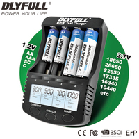 18650 Charger DLYFULL T4 LCD NiCD NiMH Li Ion 18650 Vape Battery For AA AAA CR123A