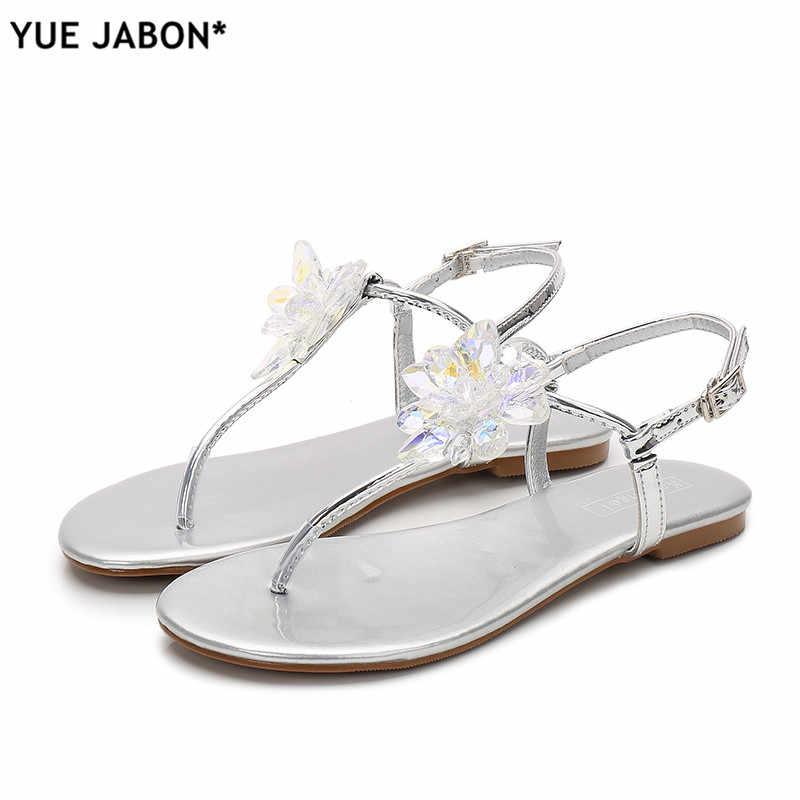 67d8950aa899 ... 2019 shoes woman sandals women Rhinestones Chains Flat Sandals plus  size Thong Crystal Flip Flops sandals ...