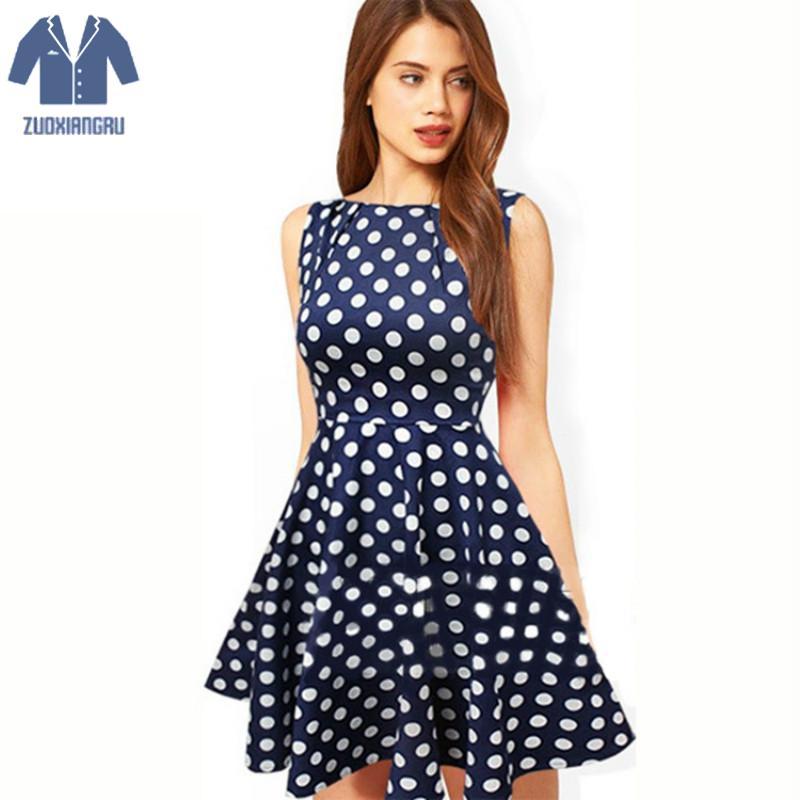 d9cf201e2c8 Summer Style Dress Women Cute O neck Blue Polka Dot Dress Sleeveless Cotton  Ball Gown White Polka Short Dress Hidden Side Zipper-in Dresses from  Women s ...