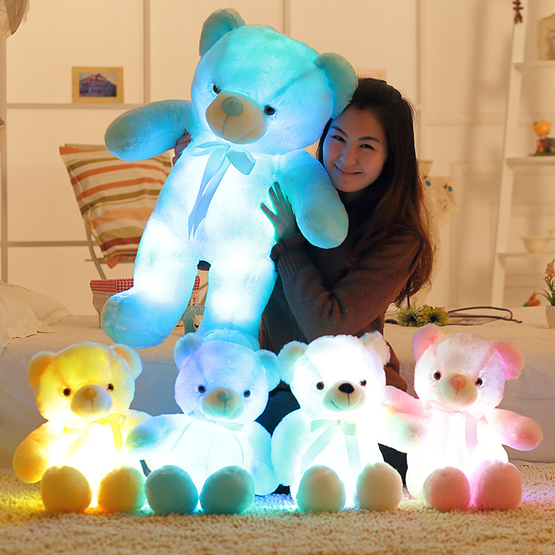 Cute 50cm Creative Light Up LED Teddy Bear Stuffed Animals Plush Toy Colorful Glowing Teddy Bear Christmas Birthday Gift for Kid