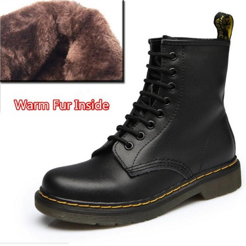 Winter Warm Genuine Leather Martin Boots Botas Feminina Female Motorcycle Boots Fashion Shoes Zapatos Mujer Ankle Boot For Women flat with genuine leather women martin boots winter warm shoes botas feminina female motorcycle ankle fashion boots women botas