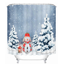 цены Merry Christmas Cute Snowman in Snow Shower Curtains Bathroom Curtain Waterproof Thickened Bath Curtain Customizable