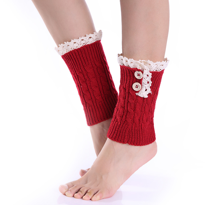 Eight 8 Word Twist Wool Short Socks Set And The United States New Lace 2 Button Female Boots Set Autumn And Winter Leg Sets