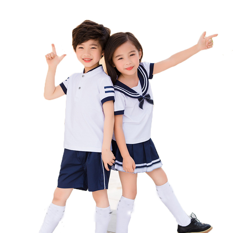 Children Summer School Uniform Clothing Sets Boys Girls Students Shirts ShortsSkirts Clothing Sets Kids Class Uniform Outfits