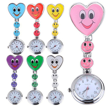 цены на Popular Women's Cute Smiling Faces Heart Clip-On Pendant Nurse Fob Brooch Pocket  Watch в интернет-магазинах